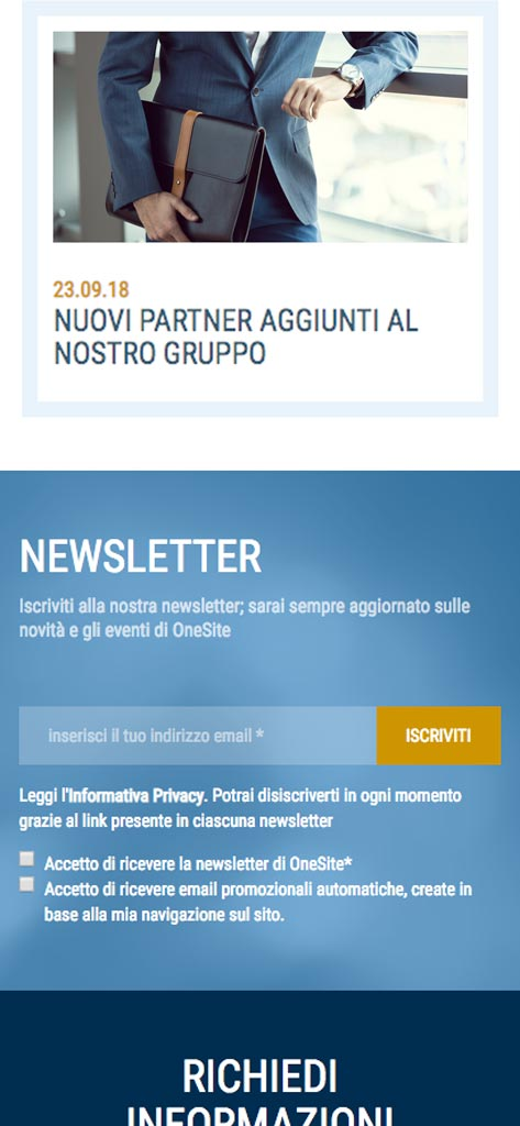One Site - Sezione Newsletter su mobile