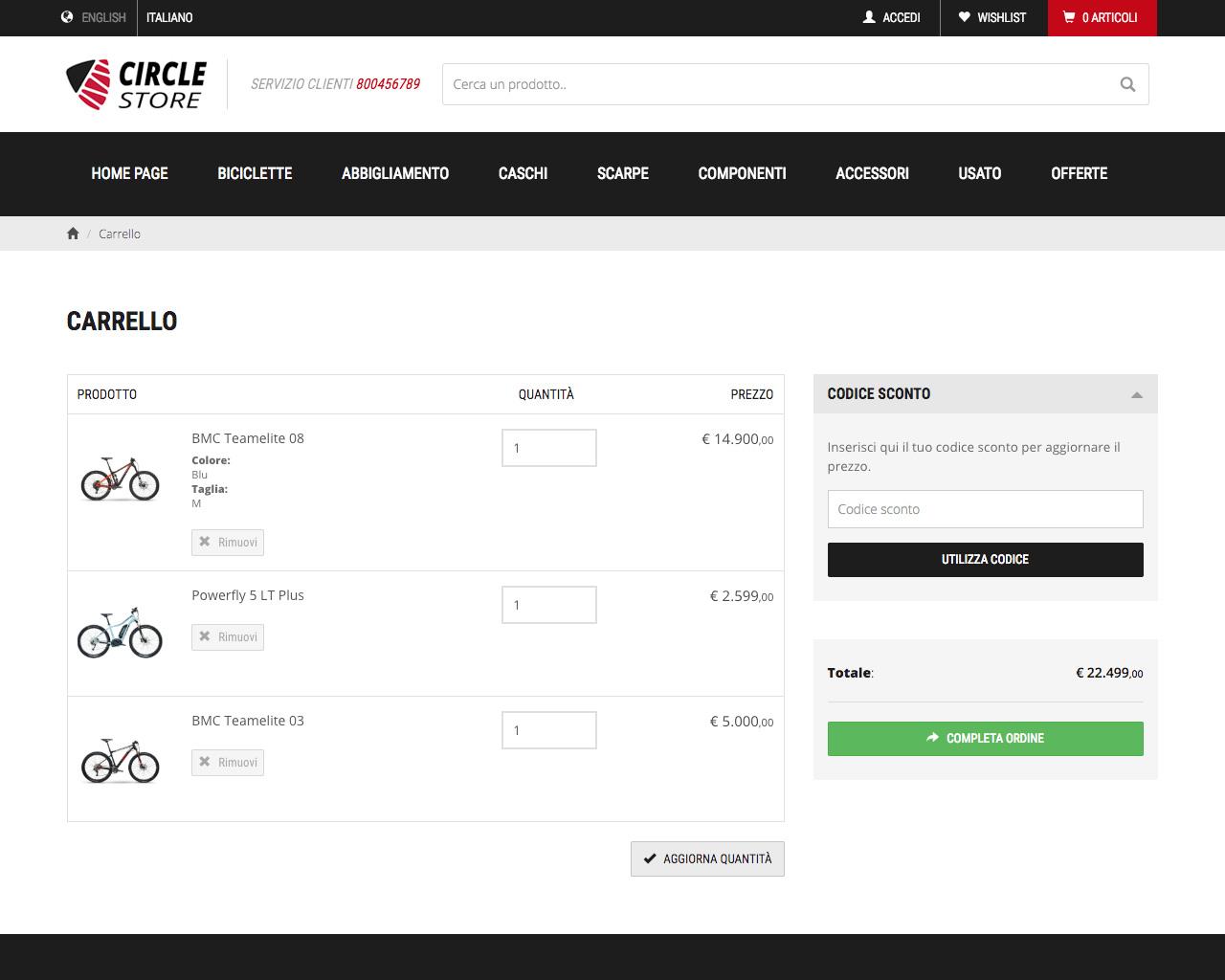 One Store - Sezione Carrello su PC