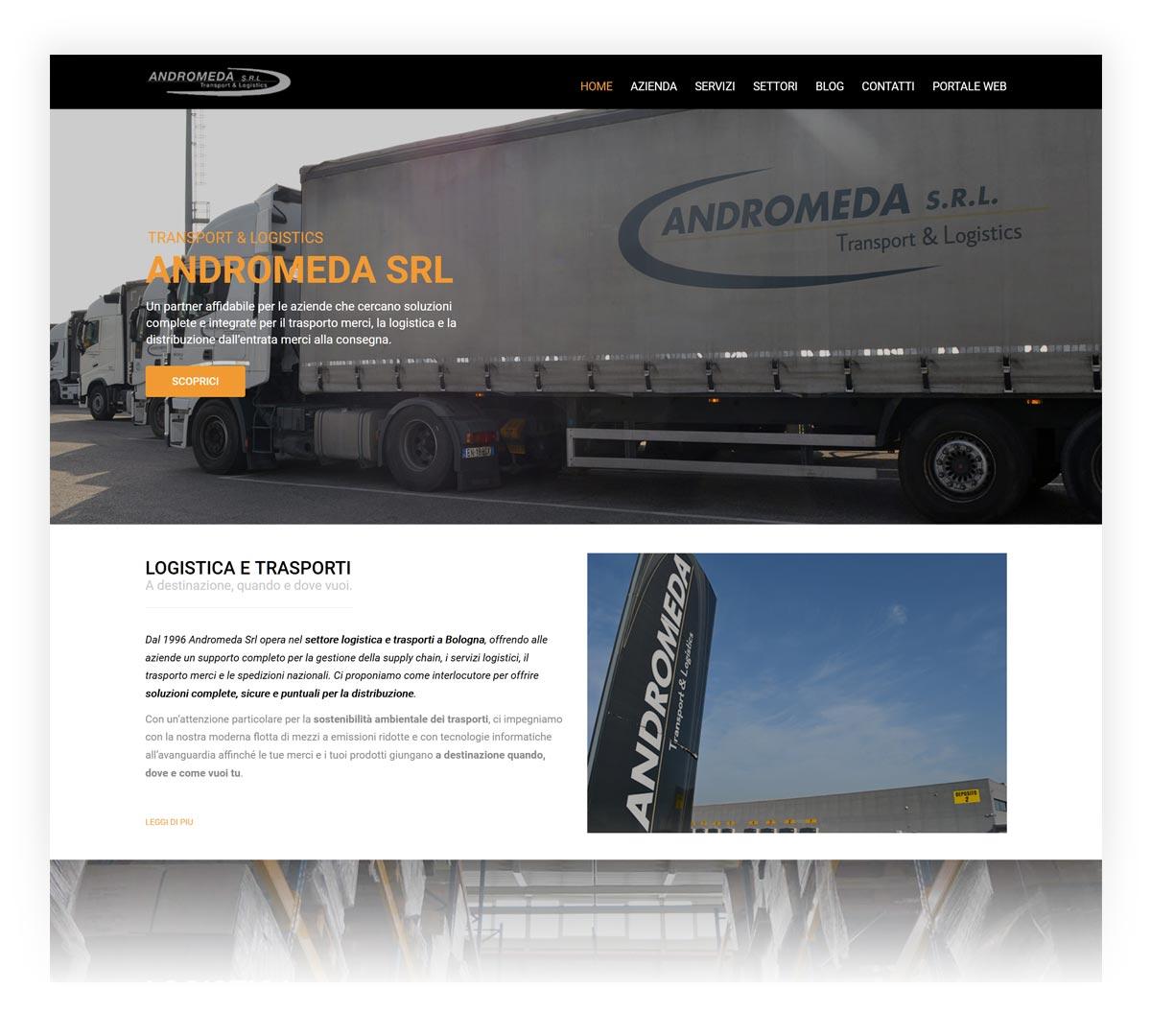 Andromeda Trasporti screenshot sito web