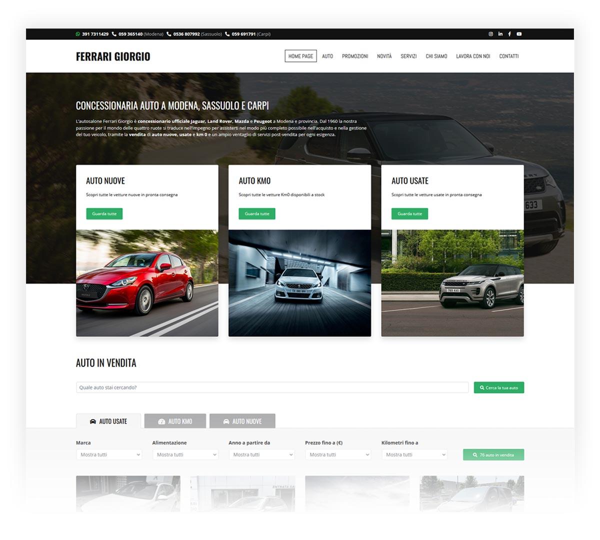 Screenshot sito web concessionaria Ferrari Giorgio