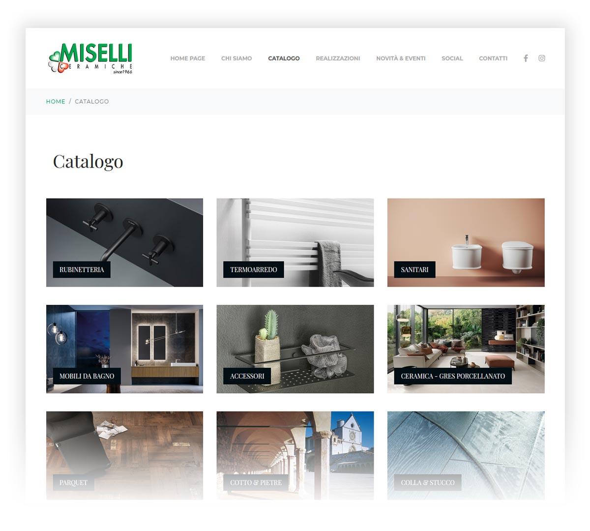 Screenshot sito web Miselli ceramiche
