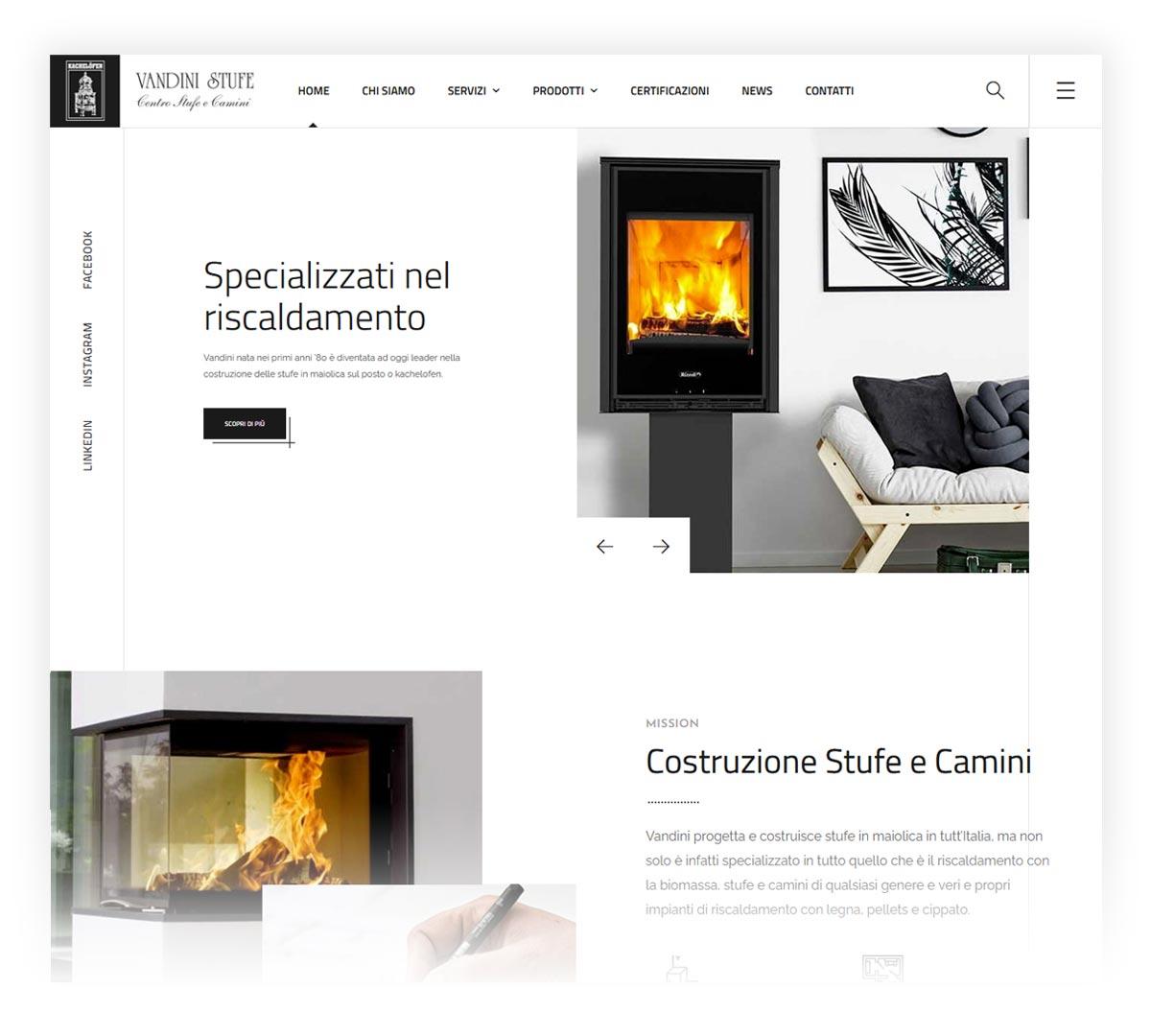 Screenshot sito web Vandini Stufe